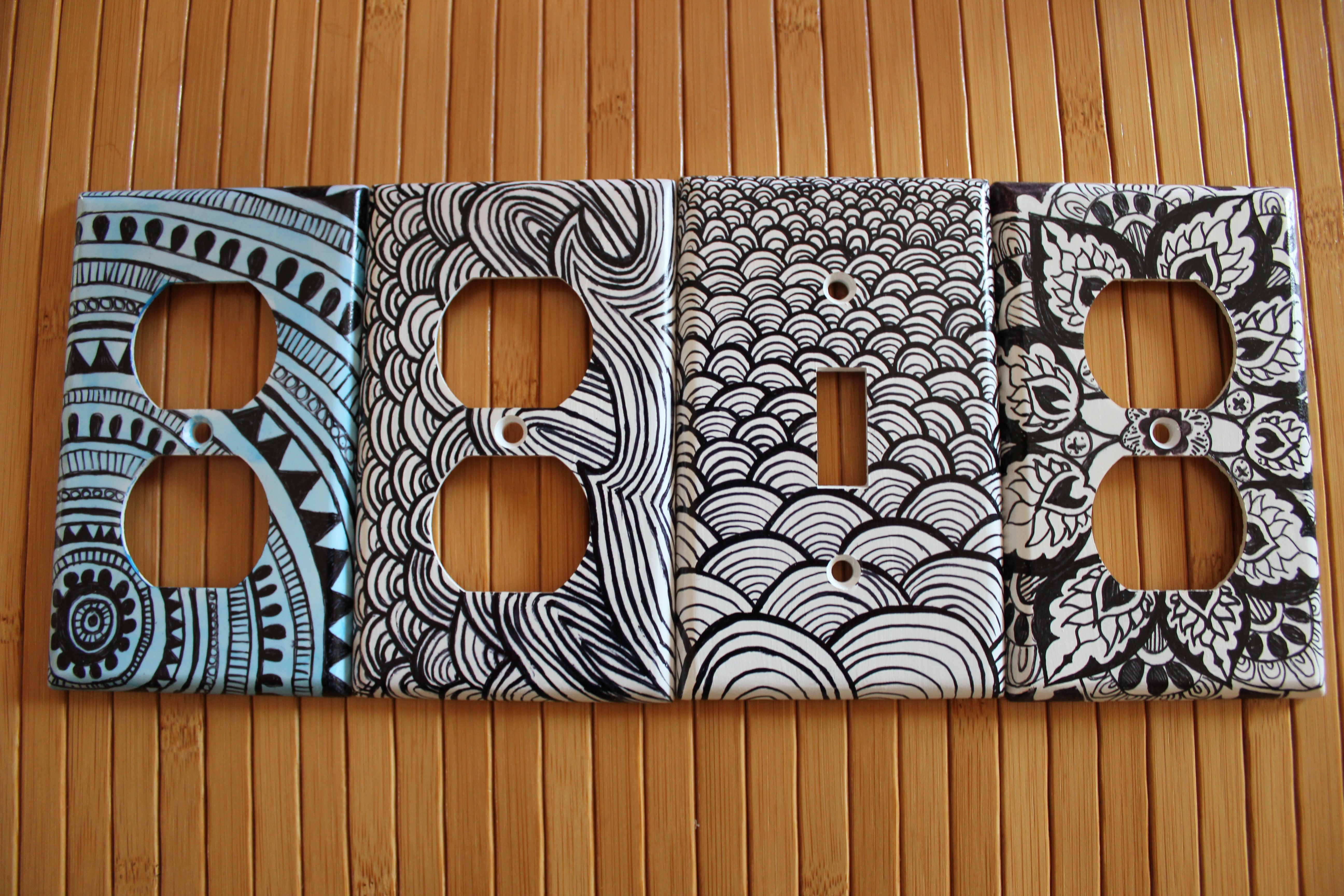 Custom Light Switch And Outlet Covers With Sharpie Sharpie Crafts Sharpie Art Light Switch Covers