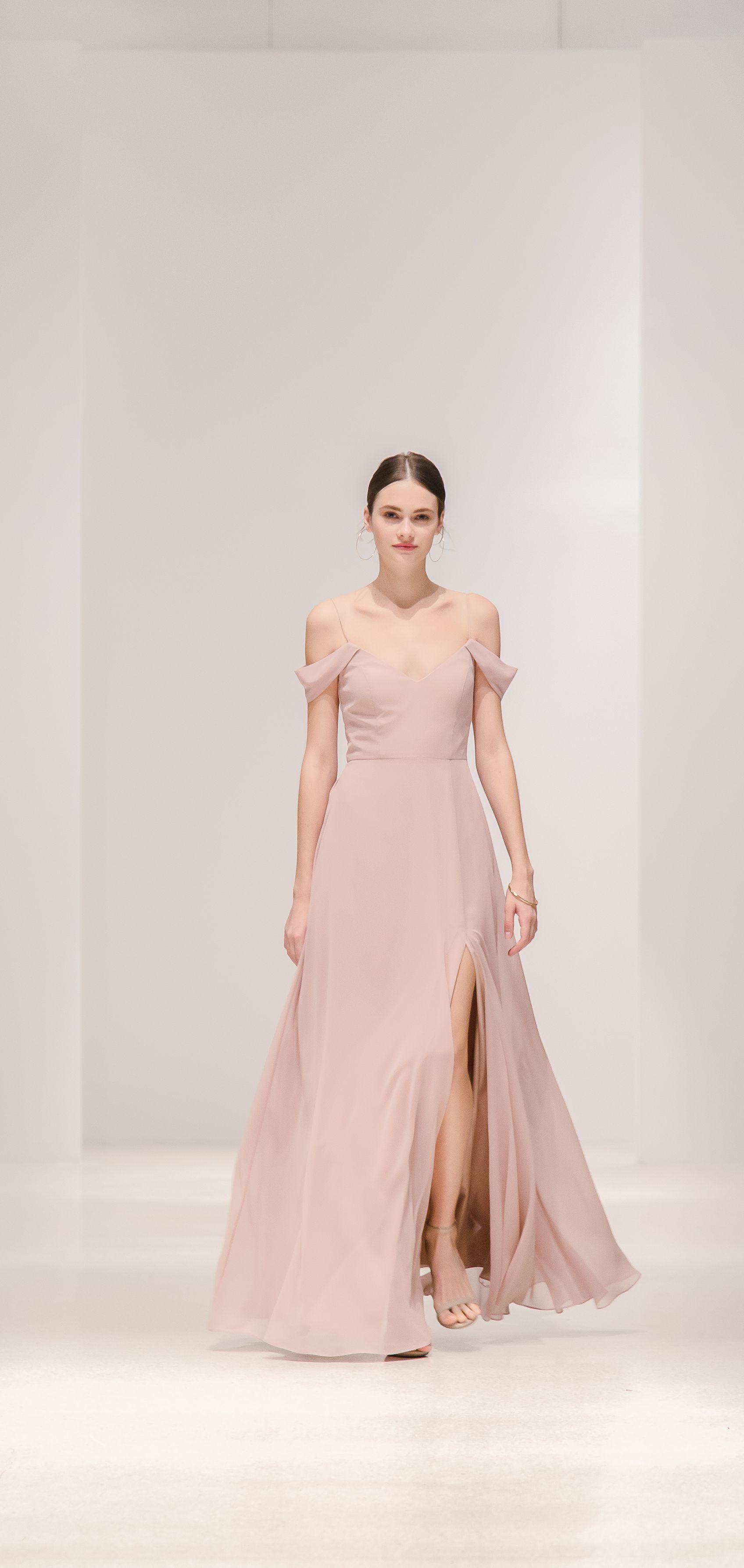 7de9a4fbd264 The Priya dress by Jenny Yoo Spring 2019 has a flattering soft A line  silhouette with a spaghetti strap V neckline in our flowy Chiffon. A modern off  the ...