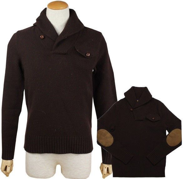 Polo rugby ralph lauren 100% wool brown sweater pullover shawl ...