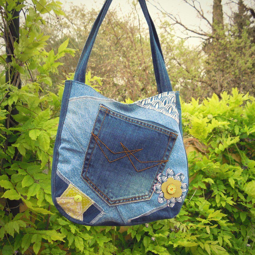 560c288ecc Sac cabas en jean recyclé, sac shopping, sac denim,sac porté épaule ...