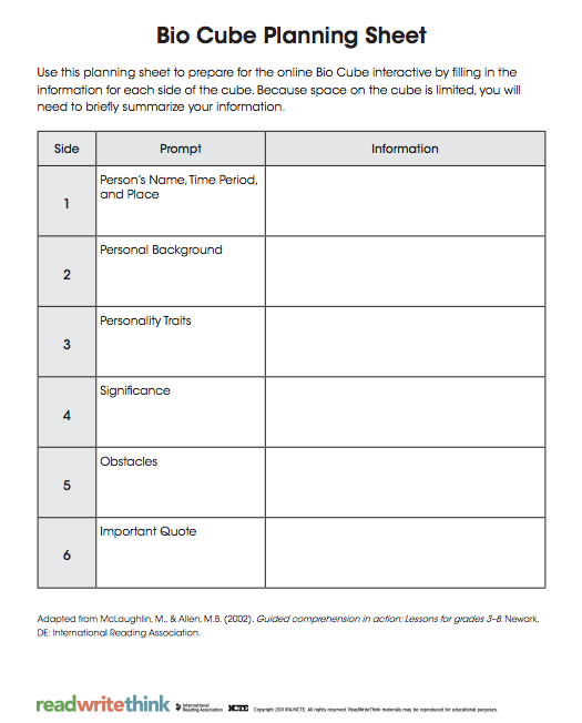 Bio Cube Planning Sheet From Read Write Think  Biography