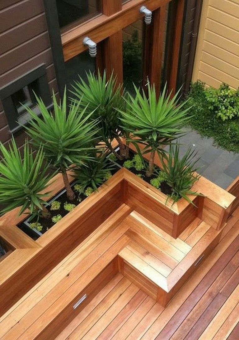 30 Exciting Outdoor Wooden Bench Seat Design Ideas With Planter