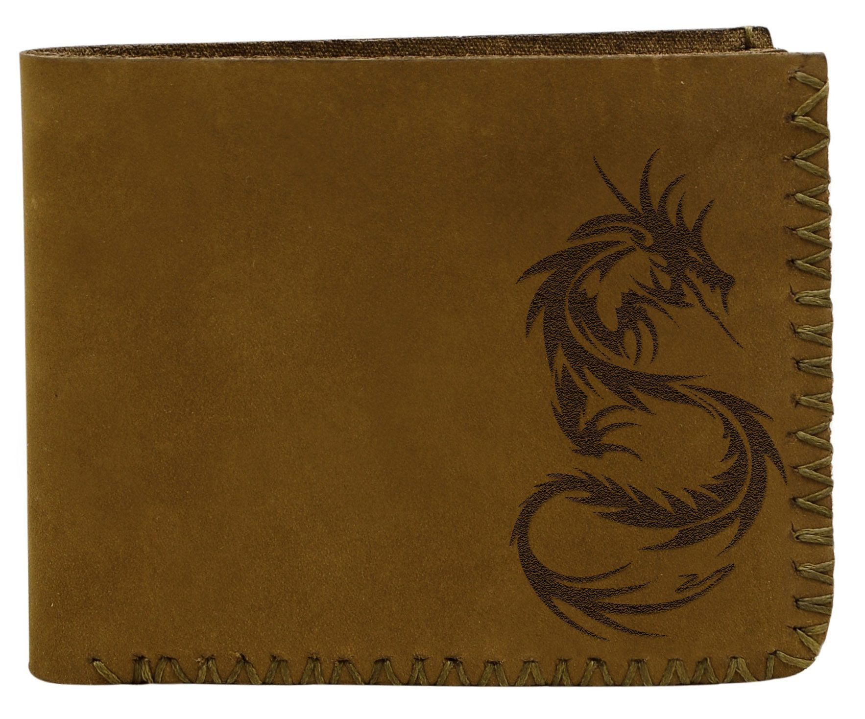 Vietsbay Men's Dragon Abstract 4 Handmade Natural Genuine Pull-up Leather Wallet
