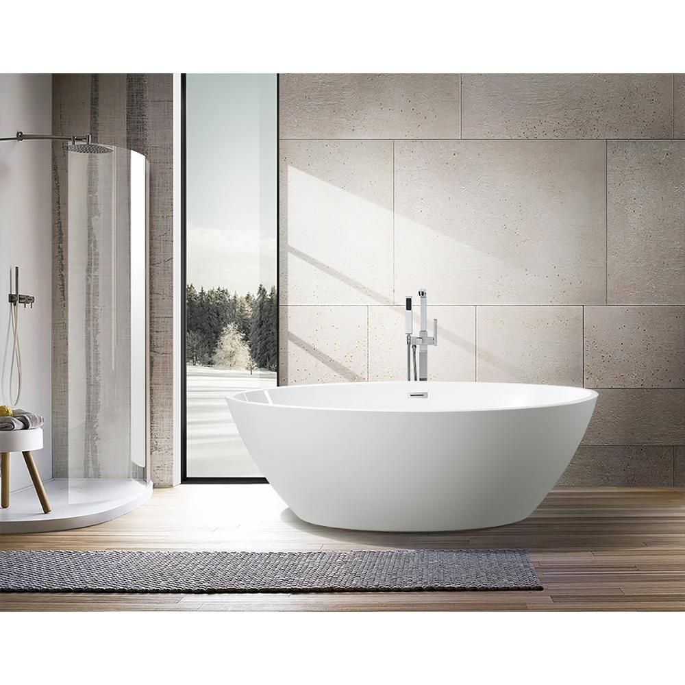Vanity Art Calais 55 In Acrylic Flatbottom Center Bathtub In White Va6834 S The Home Depot In 2020 Free Standing Bath Tub Free Standing Tub Modern Tub