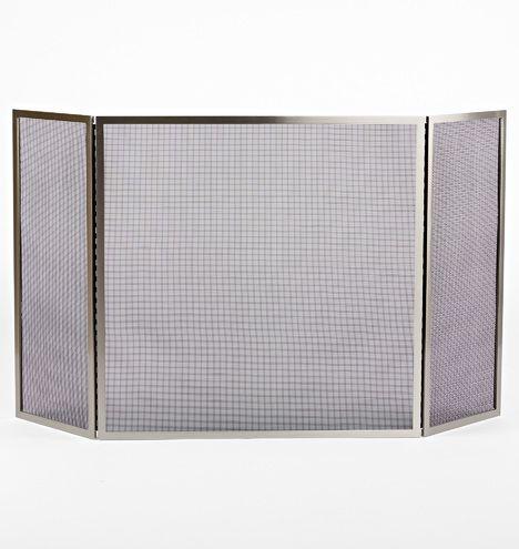 Tri Fold Fireplace Screen Large Brushed Nickel E0934 Fireplace