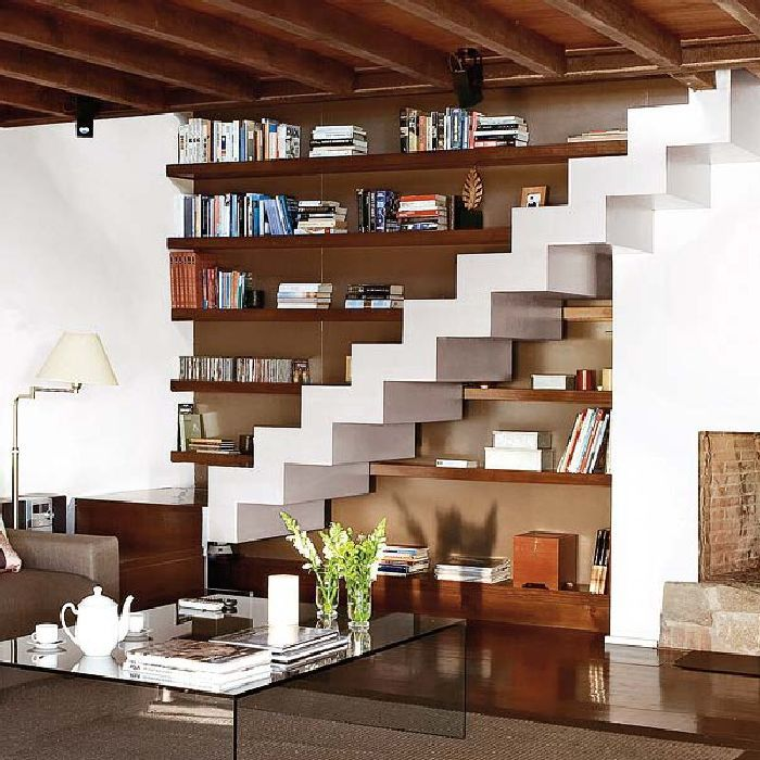Beautiful Storage Ideas Under Stairs Bookcase In Livingroom