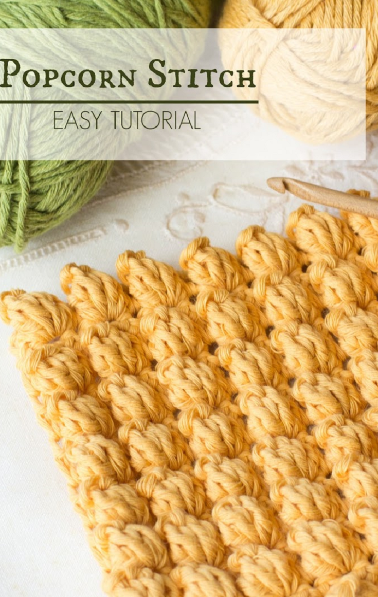Knitting Popcorn Stitch Instructions : How To: Crochet The Popcorn Stitch - Easy Tutorial Popcorn, Stitch and Crochet