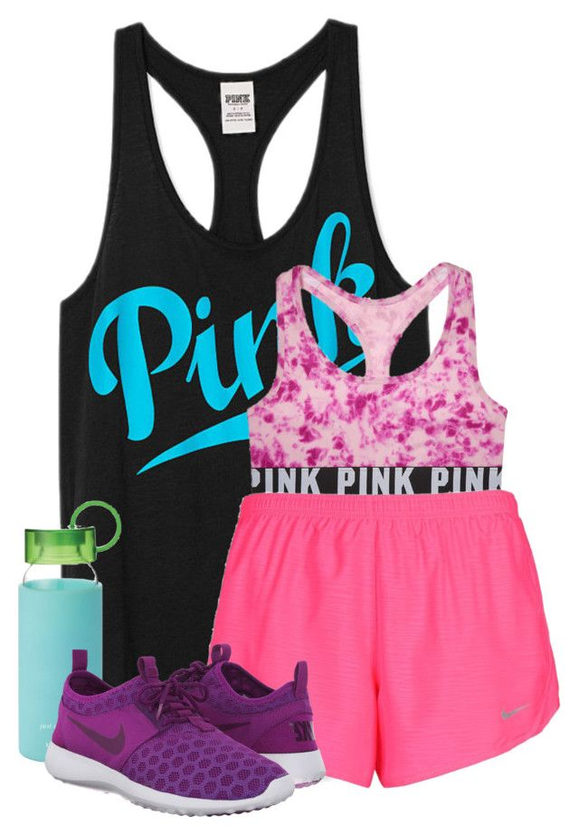 """blah blah blah, go work out "" by wiinter-blue ❤ liked on Polyvore featuring Victoria's Secret PINK, NIKE and Kate Spade"