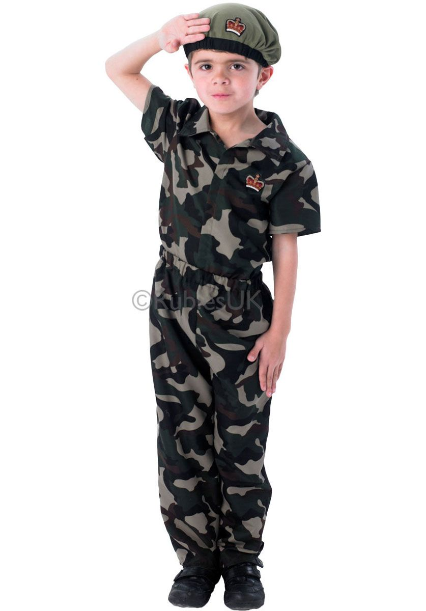 Cool Kid Boys Army Soldier Costume Uniform Child Party Fancy Dress Outfits
