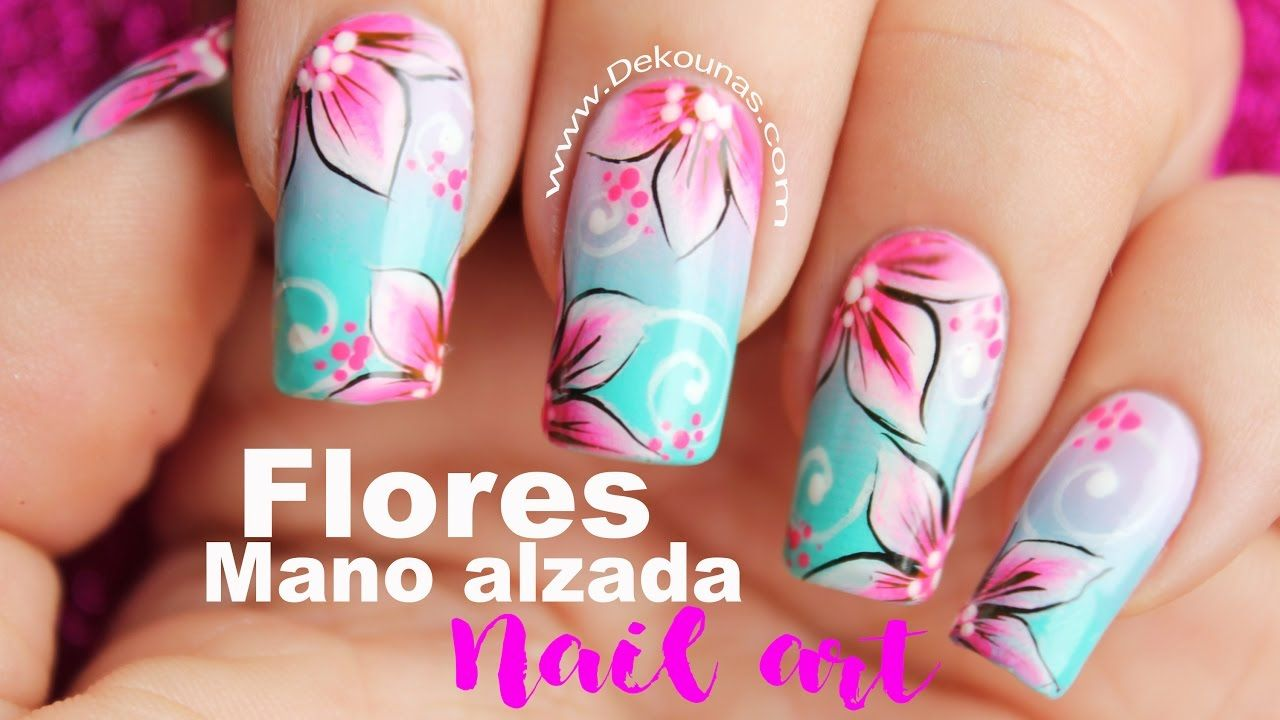 Decoración de uñas flores mano alzada - One stroke flowers nails ...