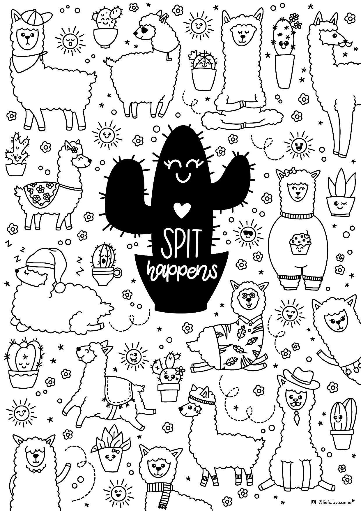 Spit Happens Lama Llama Alpaca Kleurplaat Coloring Page Kleuren Kids Kleurplaten Kleuren Kaarten