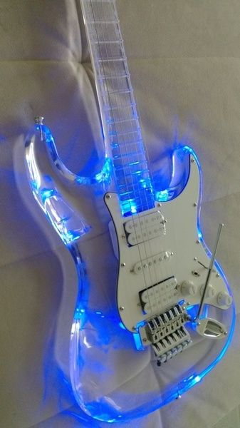 Fashion New Arrival Excellent Full Transparent Acrylic Electric Guitar With advanced high-output LED light   Wish