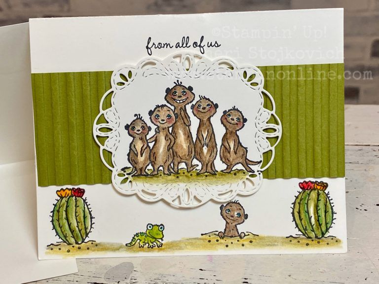 Super Easy Pop Up Card With Watercolor Pencil Tutorial Featuring Sale A Bration Meerkats In 2020 Cat Cards Stamping Up Cards Stampin Up Cards
