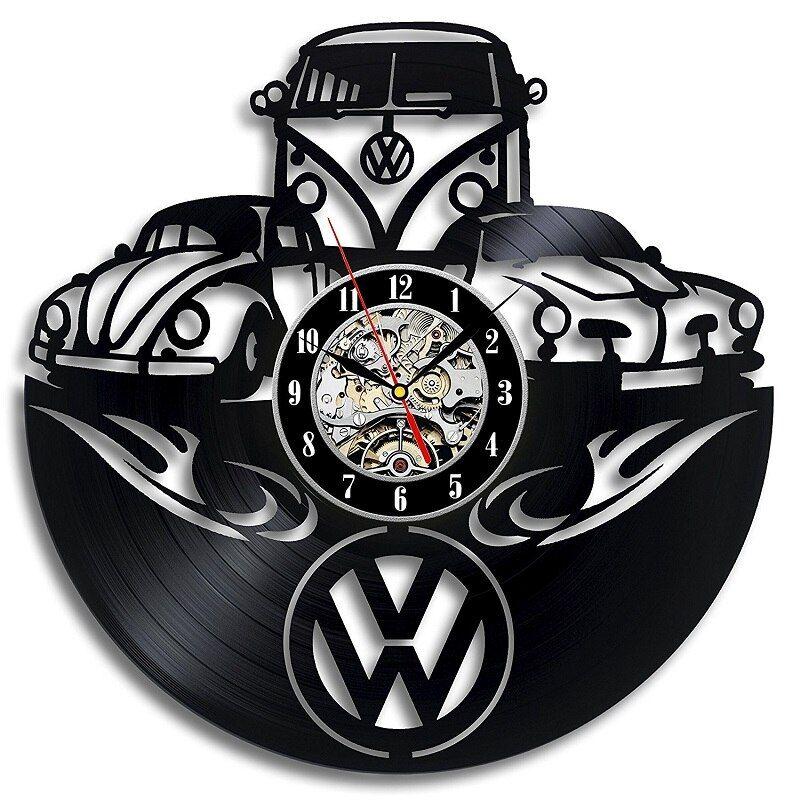 Vinyl Wall Clock Fashion Creative Living Room Decoration Volkswagen Logo 3D Decorative Home Hanging Digital Clock