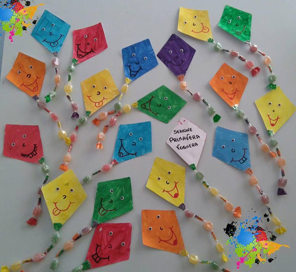 Accoglienza aquiloni con caramelle autumn pinterest for Addobbi scuola infanzia accoglienza