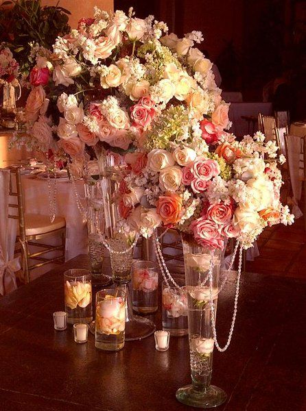 Romance whimsy reception centerpieces and ivory beach vintage gold ivory pink centerpiece centerpieces indoor reception wedding reception photos pictures weddingwire junglespirit Images
