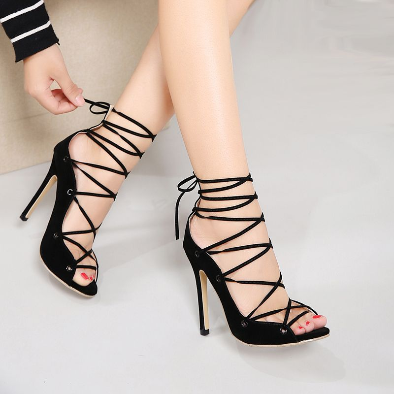 f17aded6b0d0e2 Sexy Chains Rope Sandals Strappy High Heel Gladiator Sandals Women Lace Up  Ankle Strap Women Shoes Summer Dress Shoes