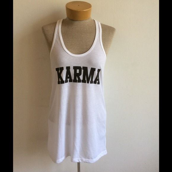 KARMA white racerback tank White cotton poly blend tank with a nice ladies fit. Run small PLEASE DO NOT BUY This a Listing , comment size below and I'll make you a listing. Tops Tank Tops