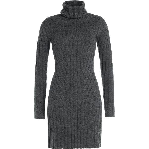 d72ecf3a08 Barbara Bui Wool Turtleneck Sweater Dress ($320) ❤ liked on Polyvore  featuring dresses, grey, long sleeve dresses, grey dress, gray sweater dress,  mini ...