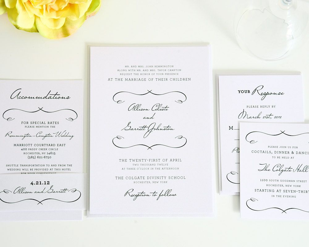 Woodlands Chic Wedding Invitation - Romantic, Vintage, French ...