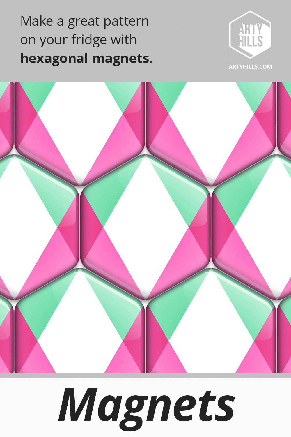 Hexagonal Magnet From Artyhills Spring Collection Decorate your fridge or any other metallic surface with a playful hexagonal magnet which is perfectly strong to hold a n...