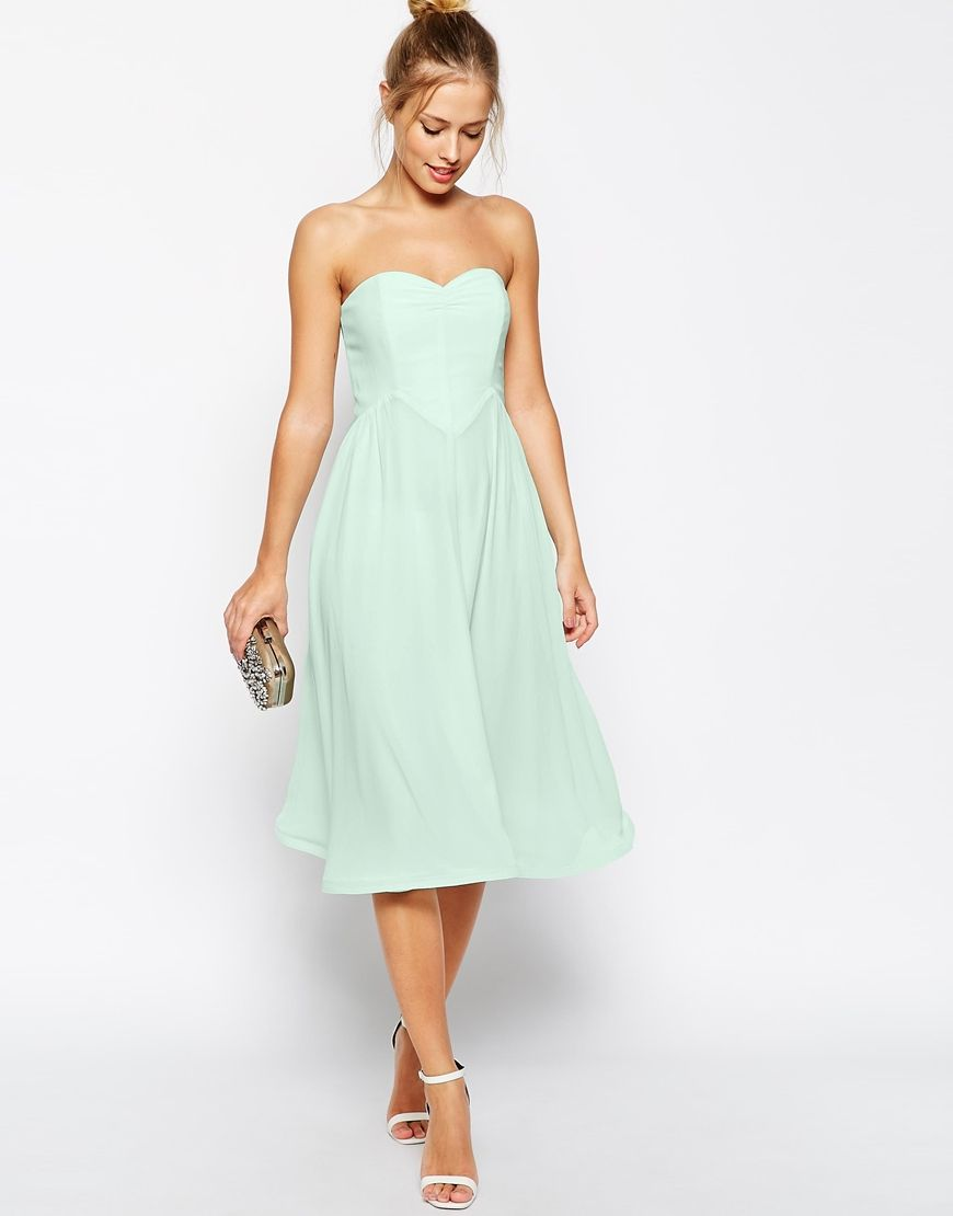 Asos wedding guest dress midi  Image  of ASOS Bandeau Midi Dress with Wiggle Hem  wedding