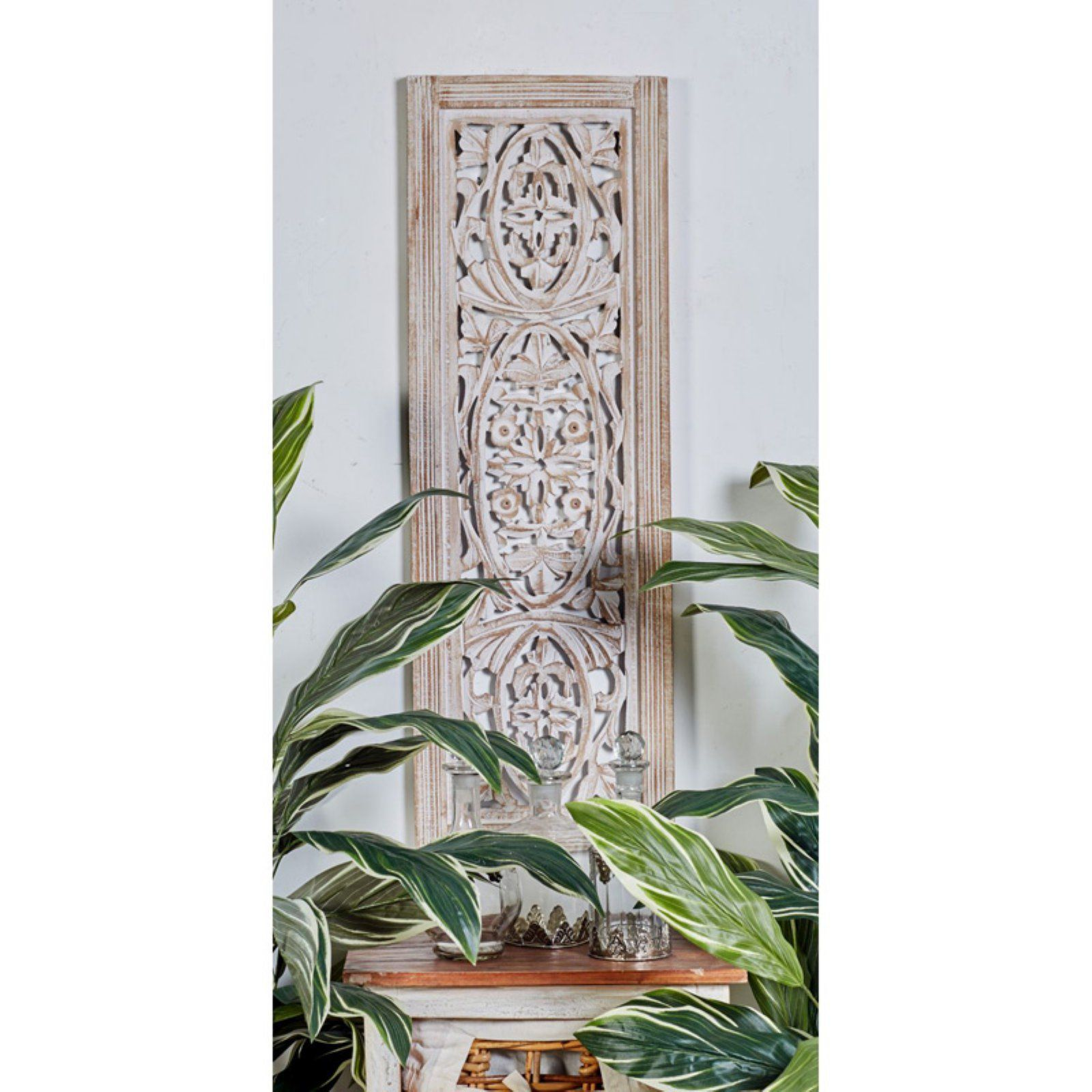 Decmode 12w X 36h In Antique White Wood Botanical Scrollwork Wall