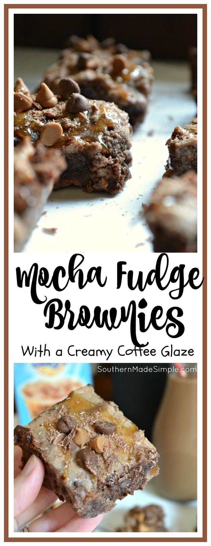 Mocha Fudge Brownies with Creamy Coffee Glaze #chocolatecoveredcoffeebeans
