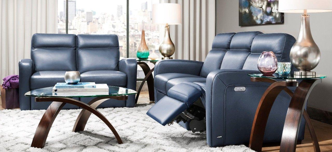 Denton Leather Power Reclining Sofa Living Room Chairs Living Room Recliner Living Room Design Orange