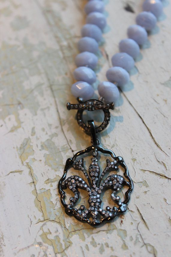 Lace agate necklace with detachable diamond fleur de lis  pendant