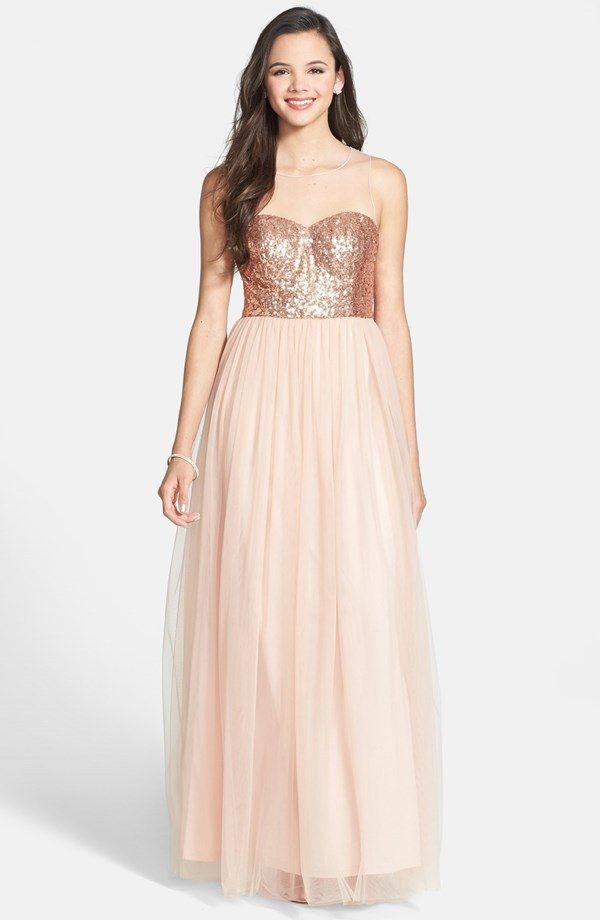 A Drea rose-gold bridesmaid dress