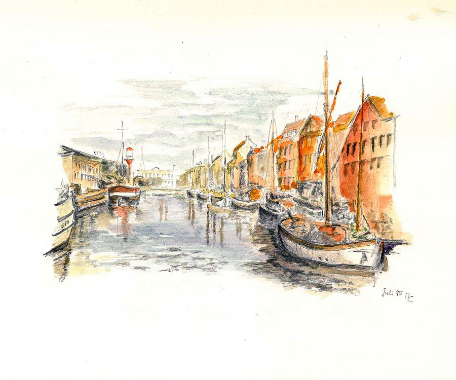 Jachthafen in Kopenhagen - Bleistift und Aquarell Farbstift - Juli ...