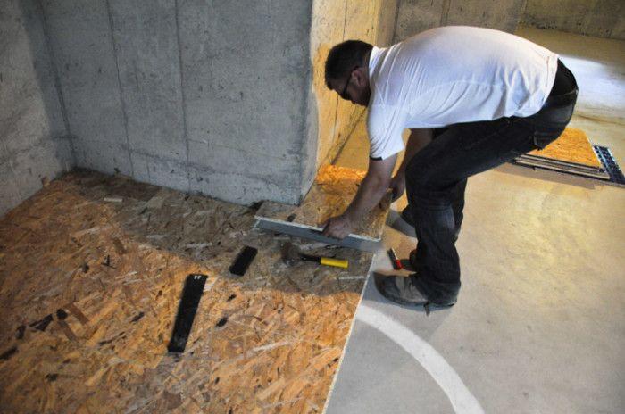 Installing Dricore Subfloor Around Corners In The Basement
