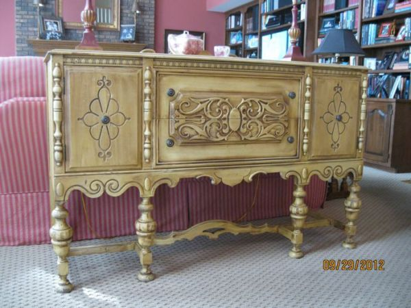 900 Antique Sideboard Buffet By JL Metz Furniture