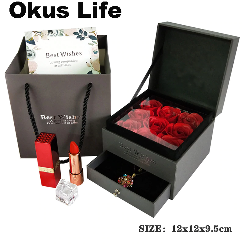 Jewelry Box Set Girl Women Earrings Necklace Lipstick Makeup Storage Gift Box Rose Soap Flower Birthday Wedding Packaging Bag In Gift Bags Wrapping Suppl Caixa