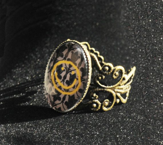 BBC Sherlock bronze filigree ring bored smiley by TheSqueakyGeek
