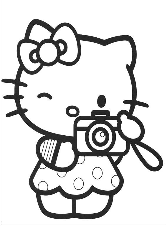 I Have Download Hello Kitty Is Being Hold In Camera Coloring Page