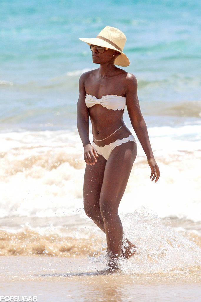 065c864cc90 Lupita Nyong o showed off her enviable beach body in a white Marysia bikini  on the beach in Maui on Wednesday.