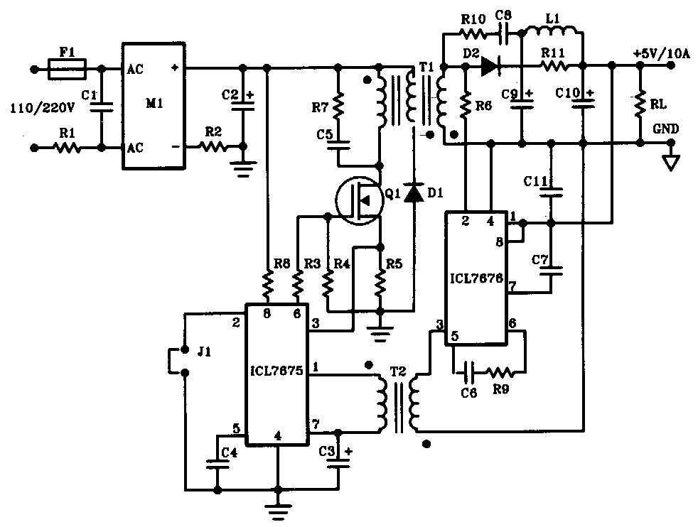 This is the switching power supply circuit diagram with