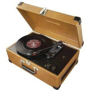 New vintage style TAN Crosley Keepsake record player turns vinyl to CDS