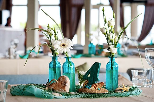Beach Themed Wedding Table Decor Centerpieces Turquoise Vases