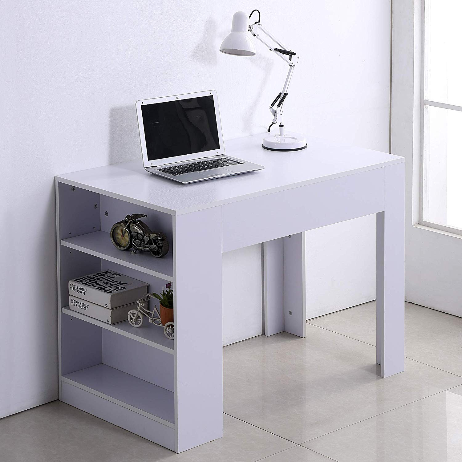 Amazon Com Homcom 40 Space Saving Modern Home Office Computer Desk Bookshelf Combo White Gat In 2020 Desk Bookshelf Combo Home Office Computer Desk Bookshelf Desk