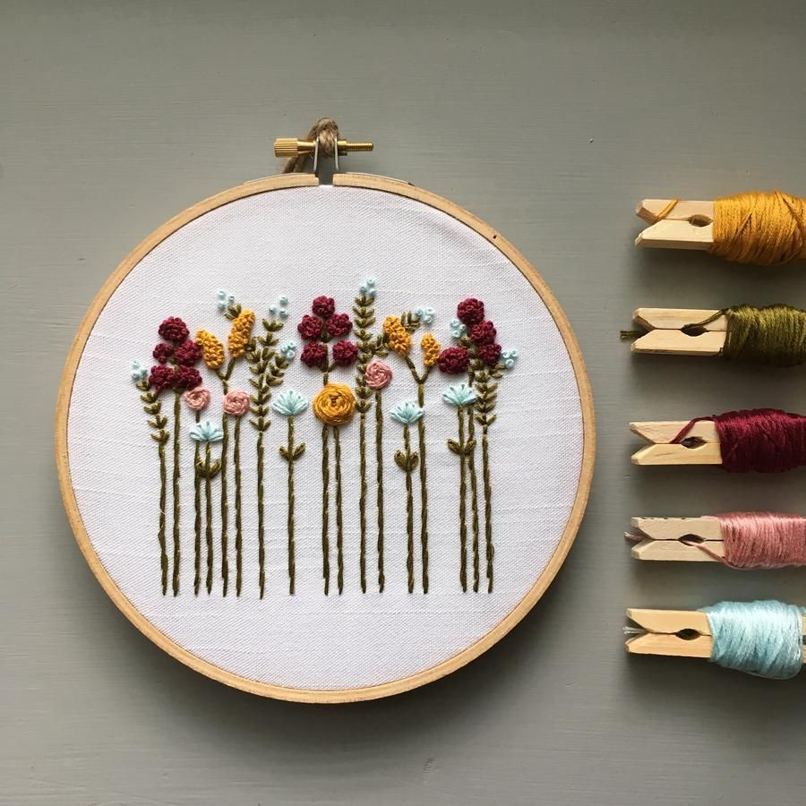 Beginner Hand Embroidery Kit - Autumn Wildflowers #colorpalettecopies