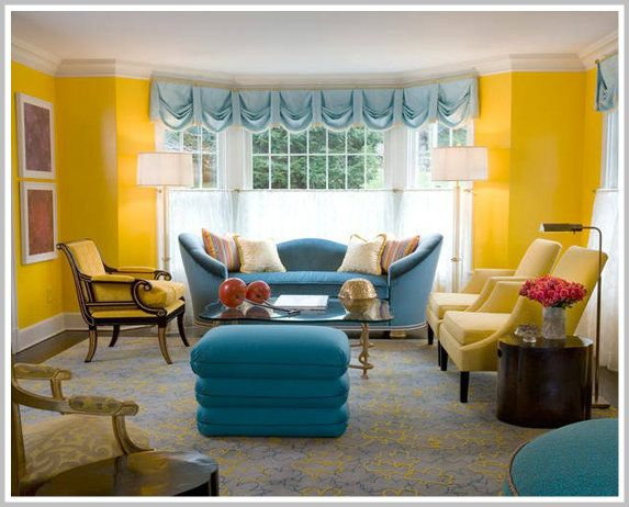 Triadic Color Scheme Room color psychology: decorating with yellow | blue couches, red