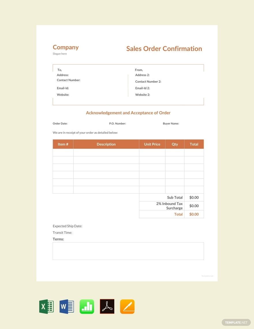 Free Simple Purchase Order Confirmation Purchase Order Purchase