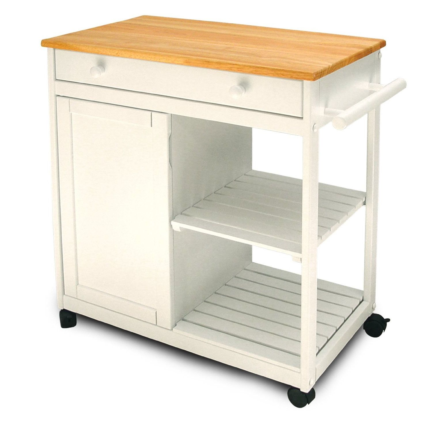 Catskill Craftsmen, Inc. Cottage Kitchen Cart with Wooden Top ...
