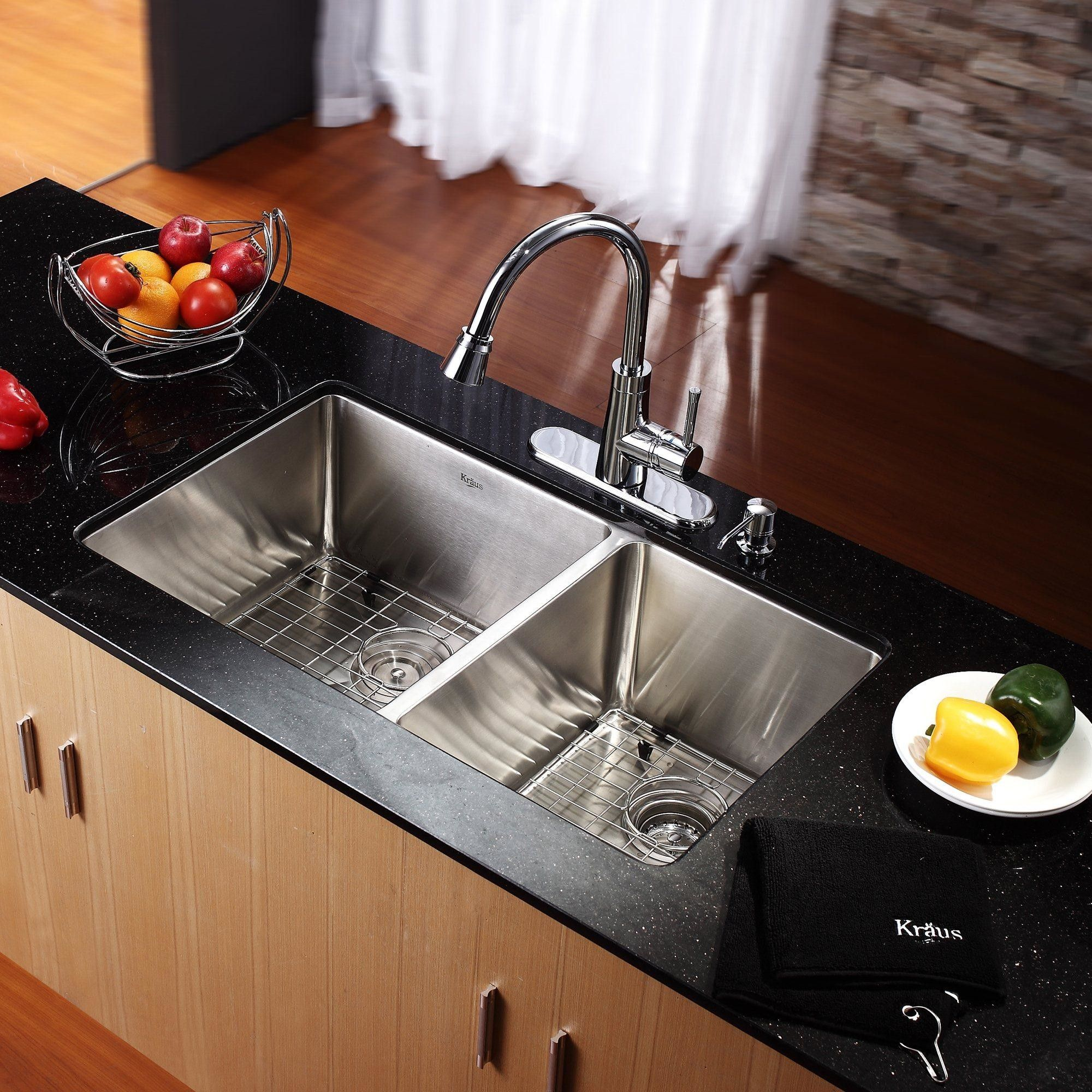 Combo 32 75 X 19 Double Bowl Undermount Kitchen Sink With Faucet