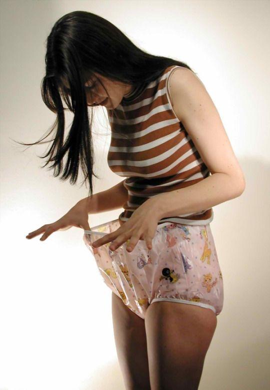 Girls in plastic pants