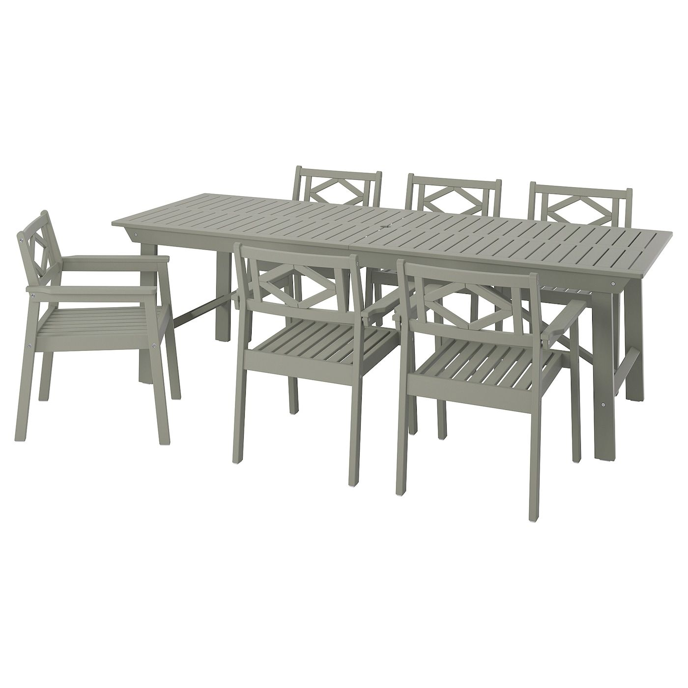 Bondholmen Table 6 Chairs Outdoor Gray Stained Ikea In 2020 Outdoor Dining Furniture Dining Furniture Outdoor Chairs