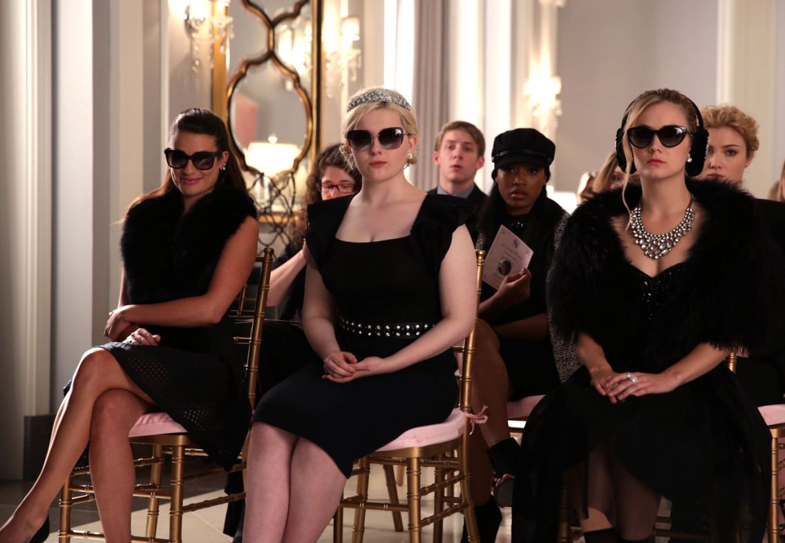 Chanel #6, Chanel #5, and Chanel #3 at a funeral in Scream Queens